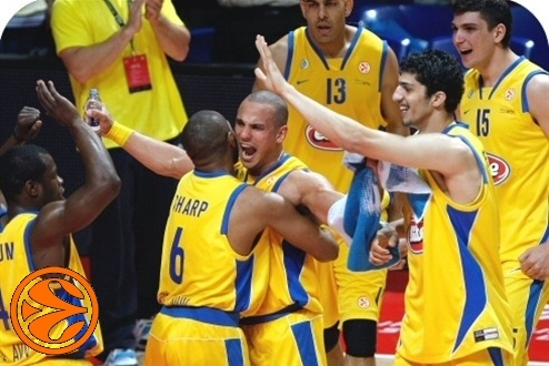 Maccabi celebrates - Maccabi Elite - Semifinal Montepaschi vs. Maccabi - Final Four 2008