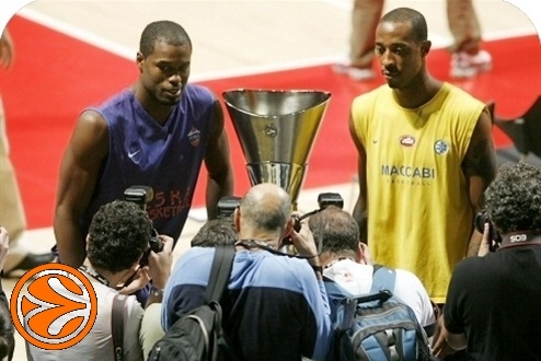 Marcus Goree and Terence Morris - CSKA practices - Final Four Madrid 2008