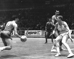 Sergei Belov of CSKA Moscow tries to dribble against Wayne Brabender of Real Madrid in the 1969 European Cup final played in Barcelona, Spain.