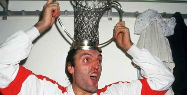Dino Meneghin of Tracer Milano celebrates yet another European Cup title in 1988.