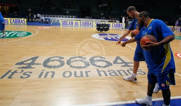 Derrick Sharp and Tal Burstein of Maccabi with 46664 its in our hands