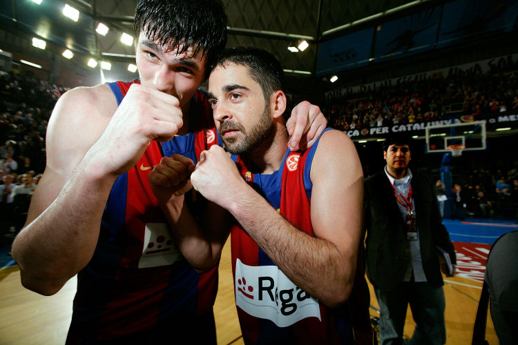 Ersan Ilyasova and Juan Carlos Navarro celebrates - Regal FC Barcelona