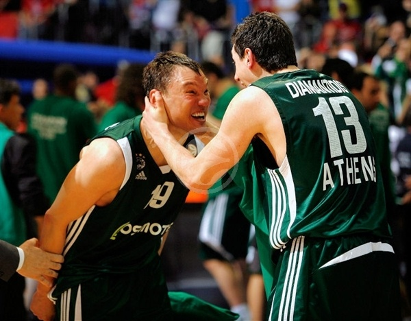 Sarunas Jasikevicius and Dimitris Diamantidis - Panathinaikos Champ 2008-09 - Final Four Berlin 2009