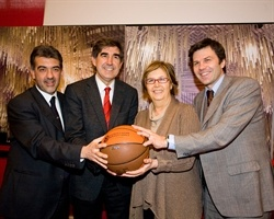 Paolo Verri (Director, Italia 150 Committee), Jordi Bertomeu, (CEO, Euroleague Basketball), Mercedes Bresso (President, Italia 150 Committee), Paolo Bellino (General Director, Parcolimpico)