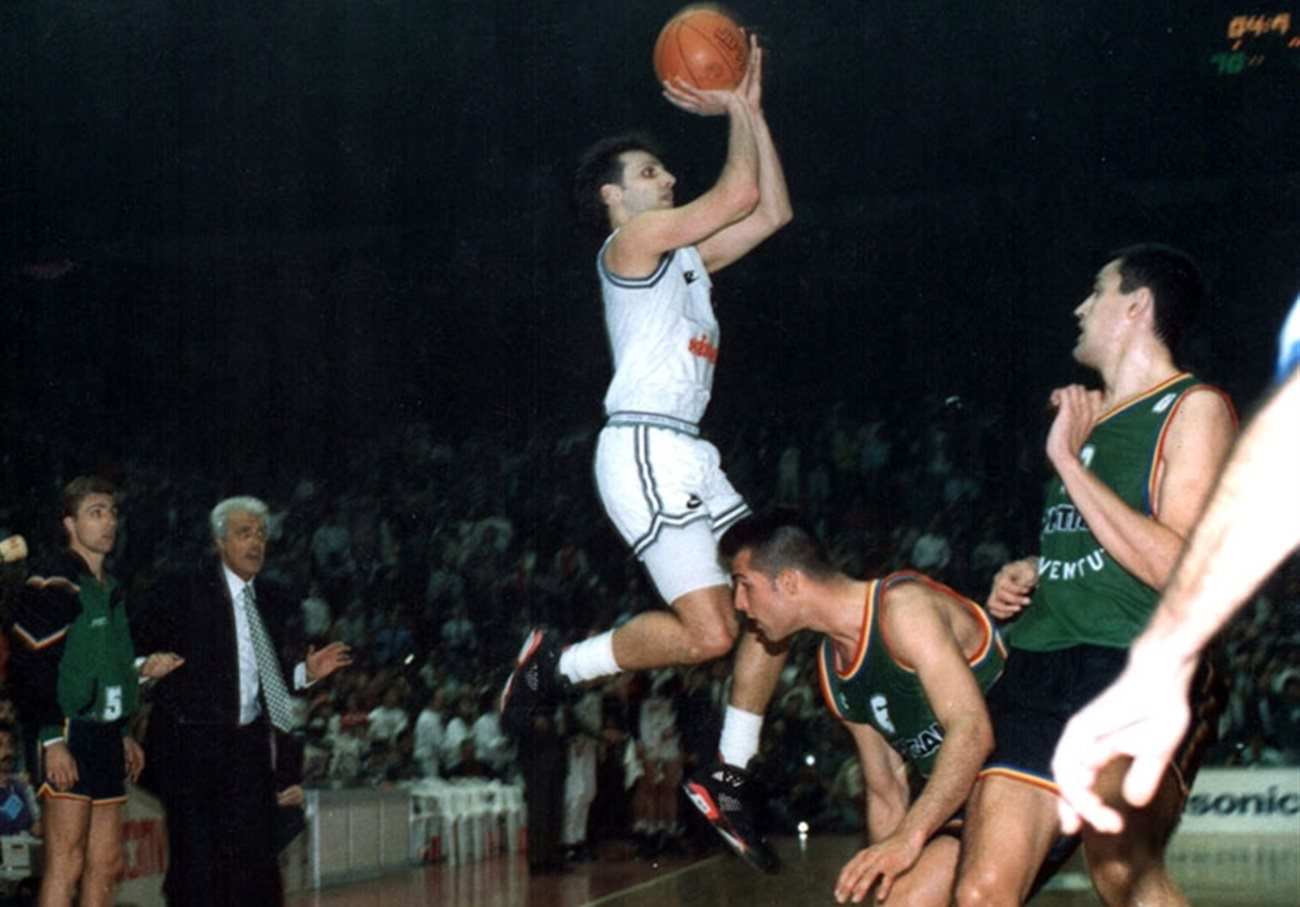 Sasha Djordjevic nailed an historic triple for the 1992 Partizan crown