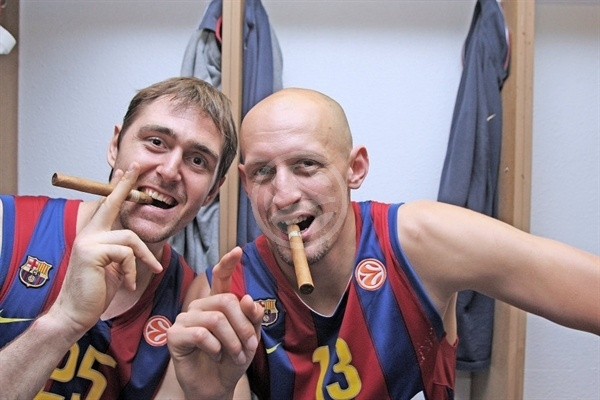 Erazem Lorbek and Lubos Barton - Regal FC Barcelona Champ - Final Four Paris 2010