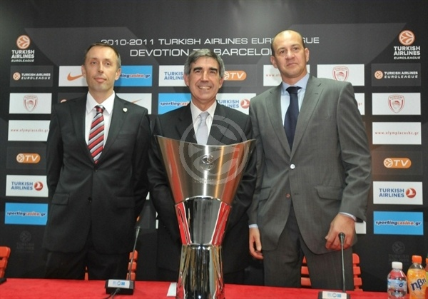Milan Tomic and Alberto Herreros with Jordi Bertomeu - Open Game Season 2010-11 Olympiacos vs. Real Madrid