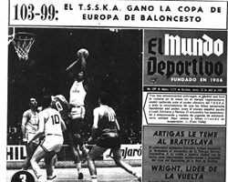 Spanish sports newspaper Mundo Deportivo dedicated its front cover to the 1969 European Cup final, in which CSKA Moscow downed Real Madrid 103-99 in double overtime. Vladimir Andreev paced the winners with 37 points. (Photo: Mundo Deportivo, Spain)