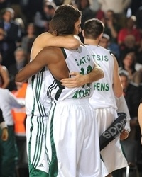 Romain Sato and Dimitris Diamantidis celebrates - Panathinaikos