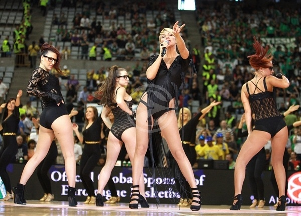 Popstar Kate Ryan performs during the 3rd Place Game Real madrid vs. Montepaschi Siena - Final Four Barcelona 2011