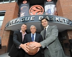 Jasikevicius, Obradovic and Bodiroga in Open doors  office Euroleague