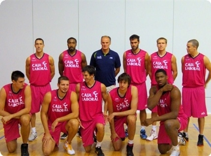 The Caja Laboral team poses at the Turkish Airlines Euroleague Media Day style=