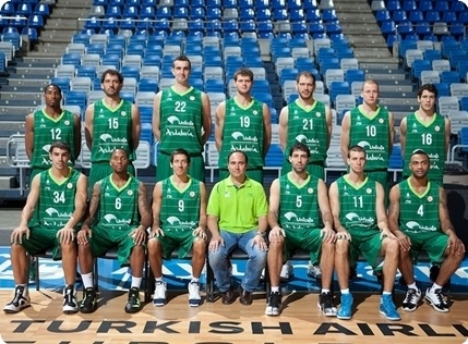 Unicaja team poses at the Turkish Airlines Euroleague Media Day
