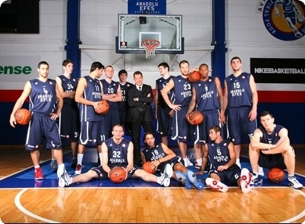 Anadolu Efes team poses at the Turkish Airlines Euroleague Media Day