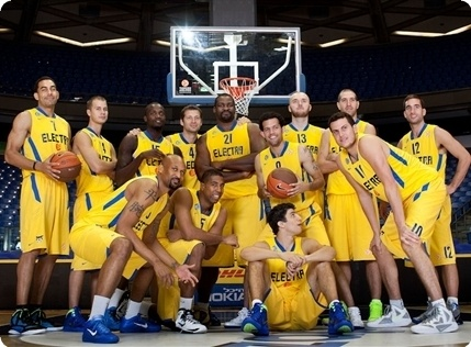 Maccabi Electra team poses at the Turkish Airlines Euroleague Media Day