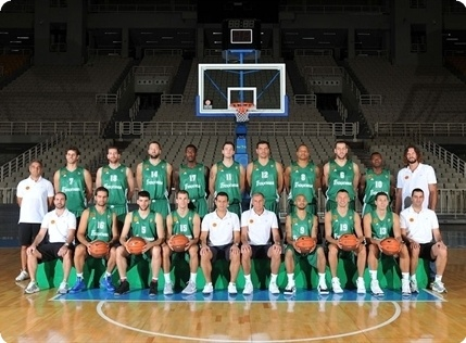 Panathinaikos team poses at the Turkish Airlines Euroleague Media Day