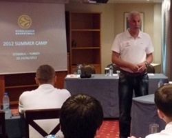 Euroleague Director of Refereeing Costas Rigas addresses summer camp