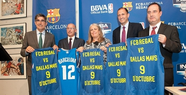 Jordi Bertomeu, CEO Euroleague Basketball, Joan Blade, executive of FC Barcelona, Maite Fandos, Minister of Sports from Municipality of Barcelona, Jesus Bueno, Vice-president of NBA Europe and Ignacio Maldonado, Advertising Director of BBVA poses during the NBA Europe Live game FC Barcelona Regal v Dallas Mavericks press conference presentation at Museu Olimpic i de l'Esport on June 28, 2012 in Barcelona, Spain.