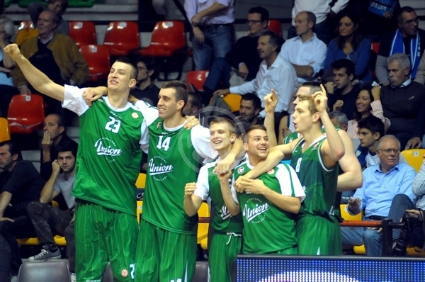 Players Union Olimpija celebrates - EB 2012-13