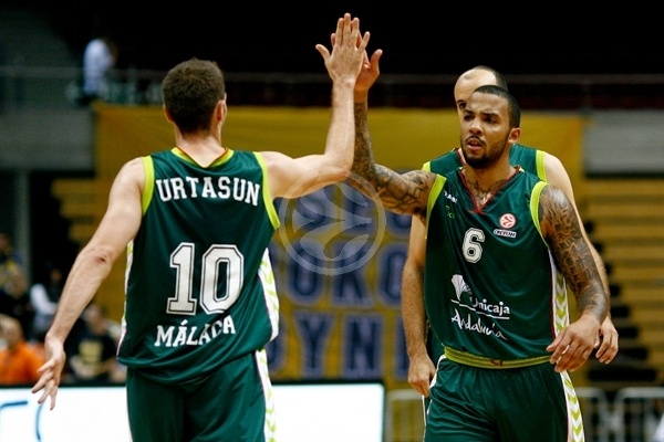 Txemi Urtasun and Marcus Williams celebrates - Unicaja Malaga - EB12-13