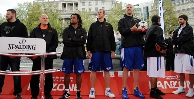 UEFA and basketball stars at Fan Zone in Trafalgar Square, London