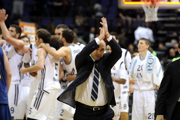 Pablo Laso - Real Madrid celebrates - Final Four London 2013