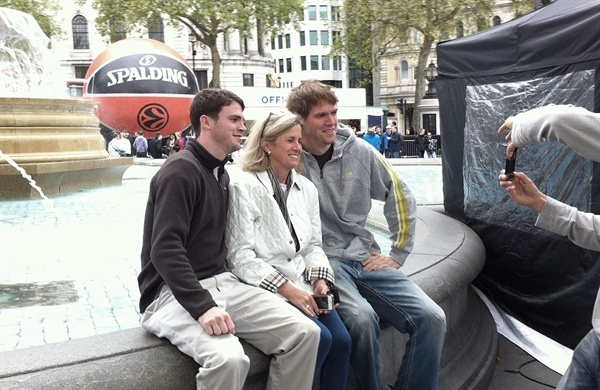 FC Barcelona Regal's CJ Wallace with his brother and Mom at Fan Zone in Trafalgar Square