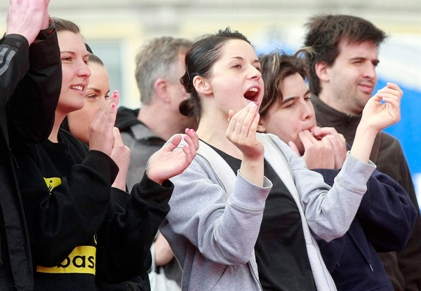 Exciting action brought in all kind sof reactions from fans at the Fan Zone in Trafalgar Square, London