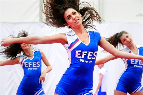 The EFES Cheerleading Academy at the Fan Zone in Trafalgar Square, London