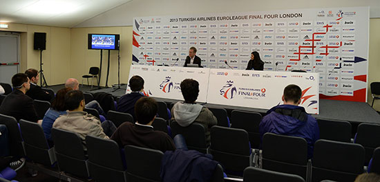 Jan Pommer, German BBL, CEO at the 2013 Turkish Airlines Euroleague Final Four in London with the EBI Master class of 2013