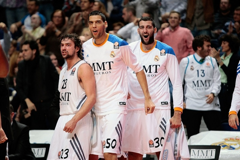Llull, Mejri and Bourousis celebrates - Real Madrid - EB13