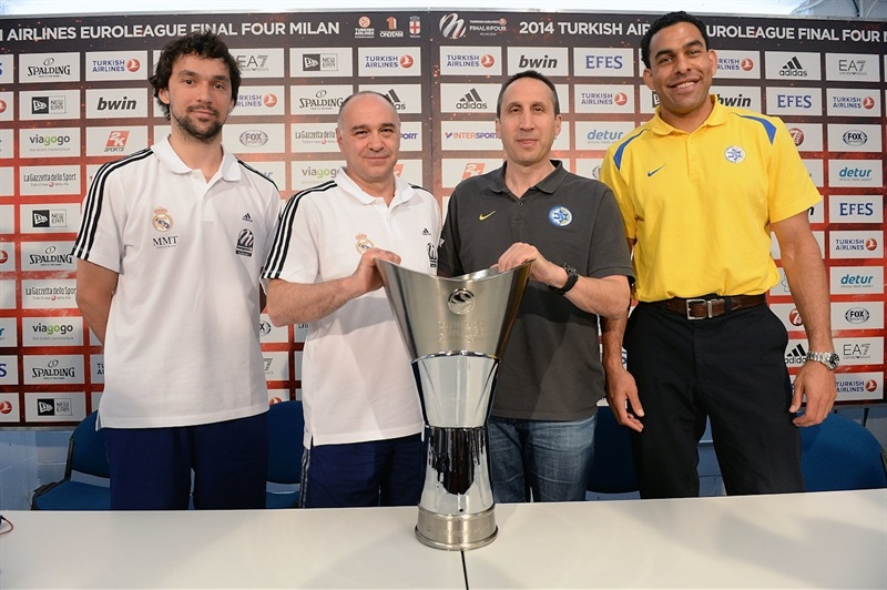 Llull, Laso, Blatt and Blu with Euroleague Trophy - Championship Game Press Conference, Milan 2014