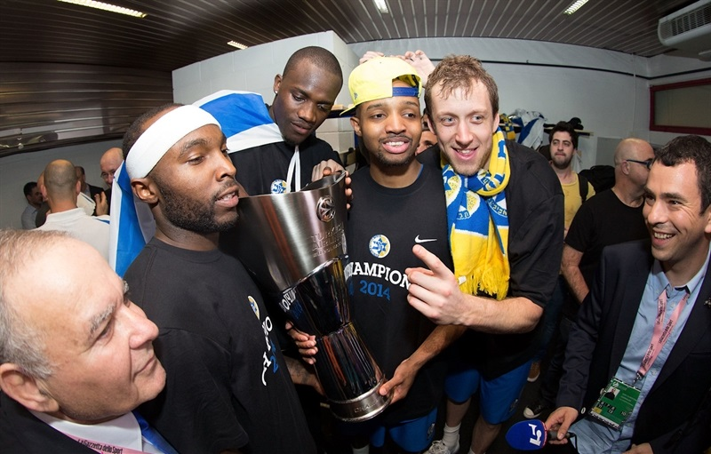Ricky Hickman - Maccabi Electra celebrates - Final Four Milan 2014