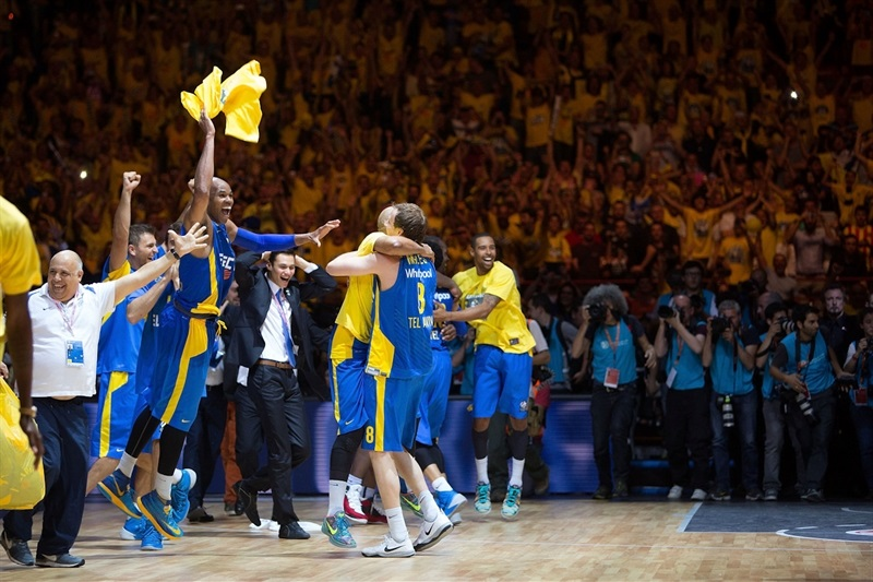 Alex Tyus - Maccabi Electra celebrates - Final Four Milan 2014