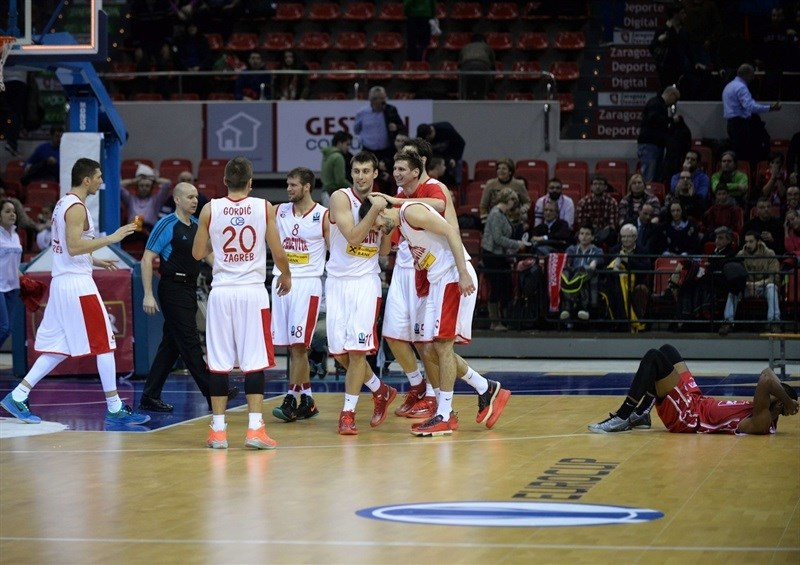 Cedevita Zagreb celebrates - EC14 (photo Ramon Comet-CAI Zaragoza)
