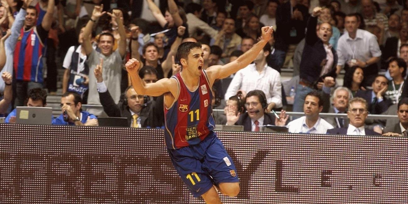 Juan Carlos Navarro celebrates - Final Four Barcelona 2003 - EB02