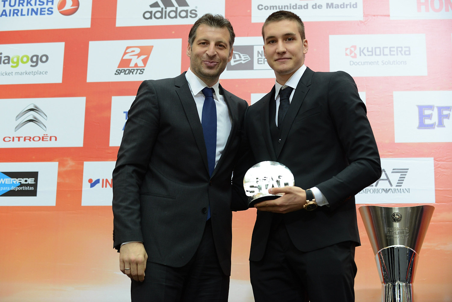 Theo Papaloukas with Bogdan Bogdanovic of Fenerbahce Ulker Istanbul, Rising Star Trophy winner  - Efes Euroleague Award Ceremony - Final Four Madrid 2015 - EB14