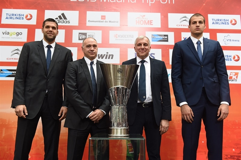 Reyes, Laso, Obradovic and Bjelica - Semifinal Madrid vs. Fenerbahce - Opening Press Conference - Final Four Madrid 2015 - EB14