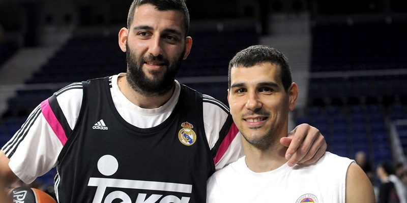 Ioannis Bourousis and Nikos Zisis in practices - Final Four Madrid 2015 - EB14