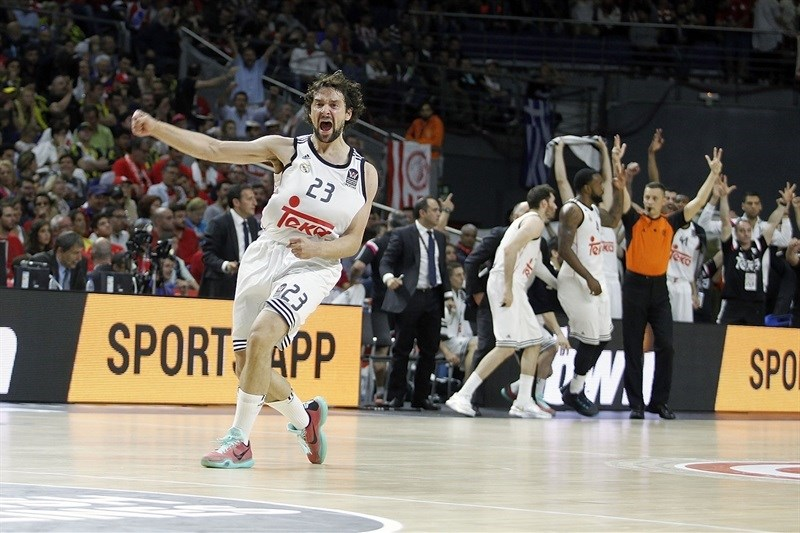 Sergio Llull celebrates - Real Madrid - Final Four Madrid 2015 - EB14