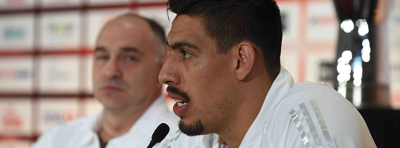 Gustavo Ayon of Real Madrid at Madrid 2015 Championship Game Press Conference