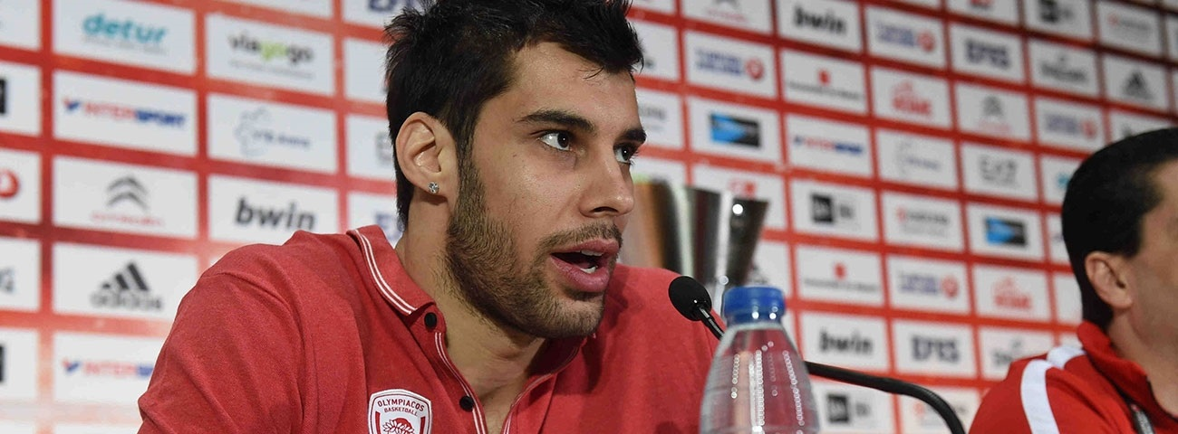 Georgios Printezis of Olympiacos Piraeus at Madrid 2015 Championship Game Press Conference