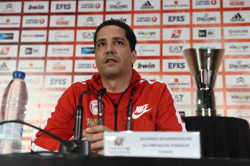 Giannis Sfairopoulos - Olympiacos Piraeus - Championship Game Press Conference - Final Four Madrid 2015 - EB14