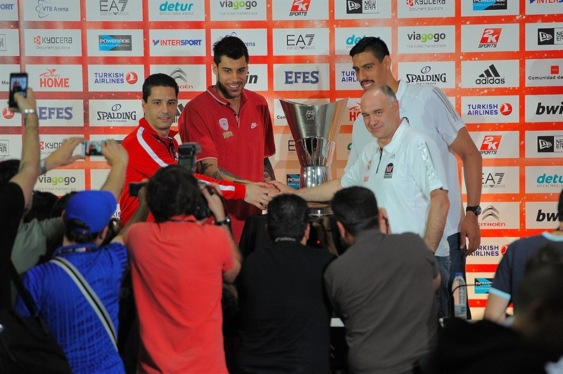 Sfairopoulos, Printezis, Ayon and Laso - Championship Game Press Conference - Final Four Madrid 2015 - EB14