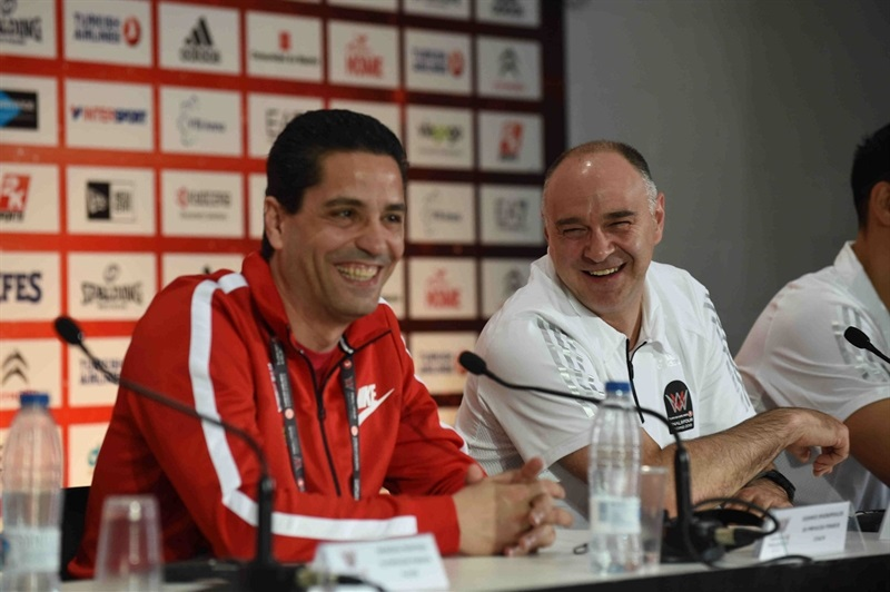 Giannis Sfairopoulos and Pablo Laso - Championship Game Press Conference - Final Four Madrid 2015 - EB14