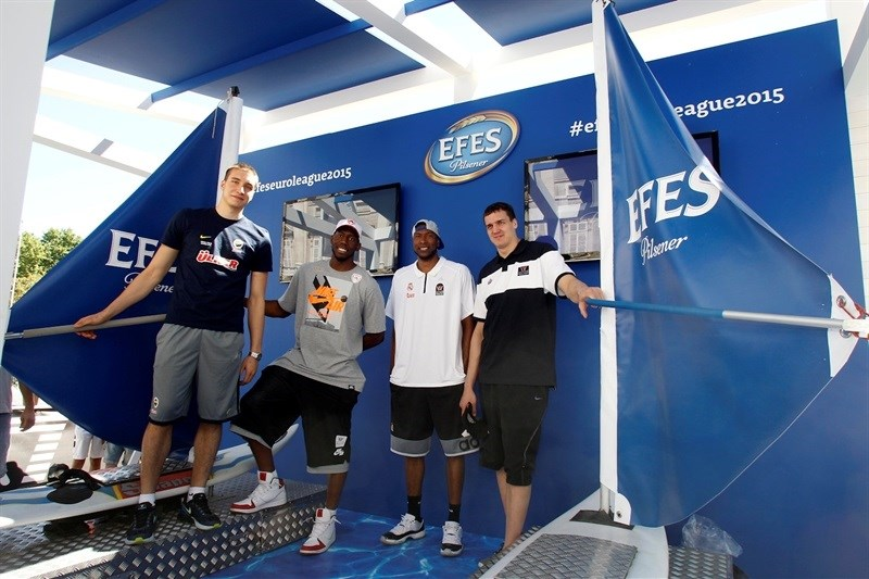 Bogdanovic, Dunston, Slaughter and Kaun- Efes Pilsener stand - Fanzone in Plaza Oriente - Final Four Madrid 2015 - EB14