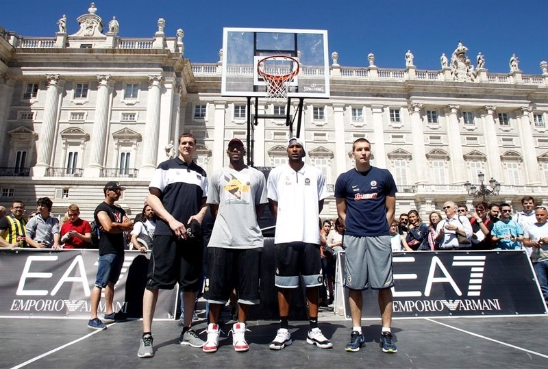 Kaun, Dunston, Slaughter and Bogdanovic - Fanzone in Plaza Oriente - Final Four Madrid 2015 - EB14