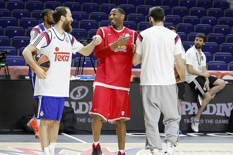 Sergio Rodriguez, Tremmell Dardem and Rudy Fernandez - Real Madrid practices - Final Four Madrid 2015 - EB14