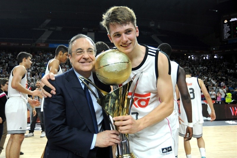 Florentino Perez with Luka Doncic - Real Madrid is the new Champ - ANGT Final Four Madrid 2015 - JT14