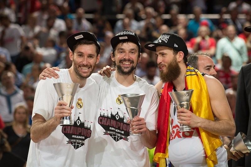 Three amigos: Rudy Fernandez, Sergio Llull and Sergio Rodriguez of  Real Madrid are brand new Euroleague champs!